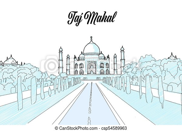 Taj Mahal Travel Sketch - csp54589963