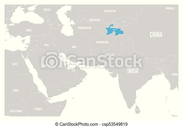 tajikistan blue marked in political map of south asia and middle east simple flat vector map