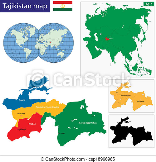 Tajikistan Map Map Of Administrative Divisions Of Clip Art - Tajikistan map vector