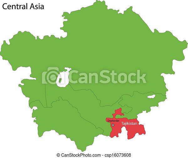 Tajikistan map. Location of tajikistan on central asia.