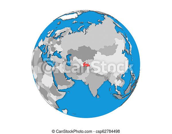 Tajikistan on 3D globe isolated - csp62784498
