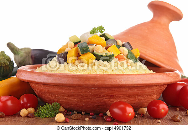 tajine with vegetarian couscous - csp14901732