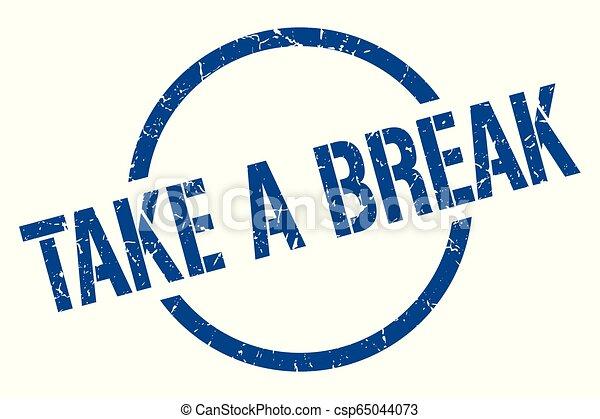 take a break stamp take a break blue round stamp. Black Bedroom Furniture Sets. Home Design Ideas