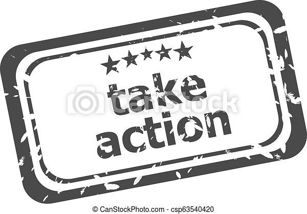 Take action grunge stamp sign text word logo - csp63540420
