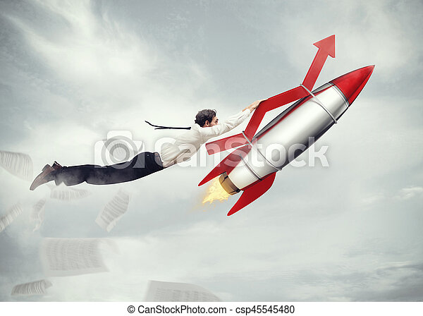 Take-off business success. 3D Rendering - csp45545480