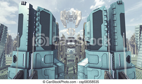Take off from a futuristic scifi city  3D rendering