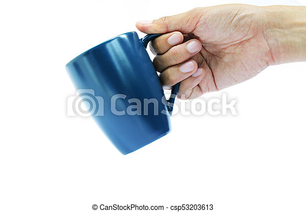 Take out action with hand holding blue coffee cup on white backgrounds - csp53203613