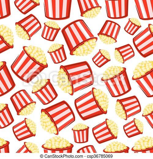 Takeaway buckets of popcorn seamless pattern - csp36785069
