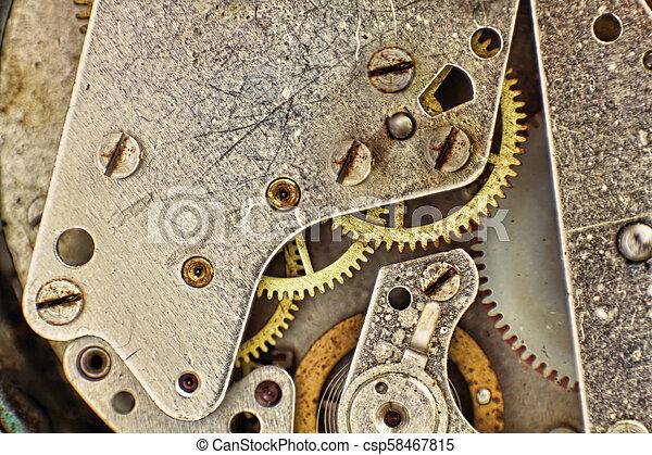 taken, closeup., toestellen, mechanisme, klok - csp58467815