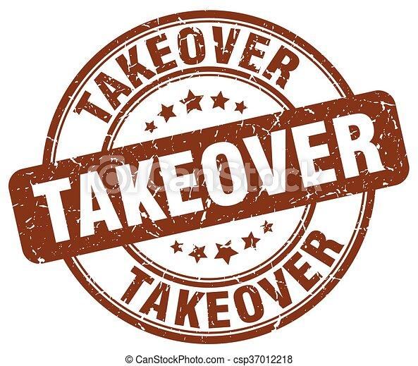 takeover brown grunge round vintage rubber stamp - csp37012218