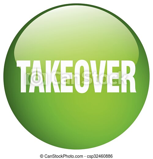 takeover green round gel isolated push button - csp32460886