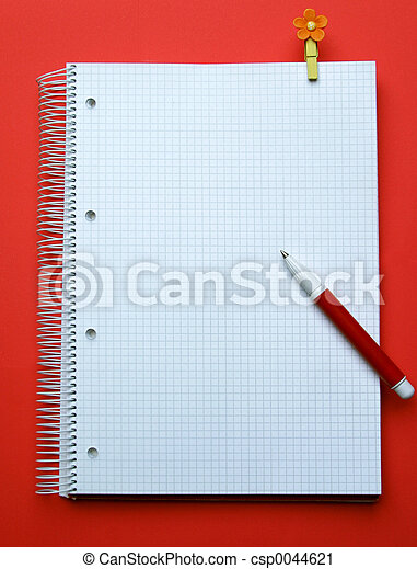 Taking note. Exercise book, pen, pin on red background ...