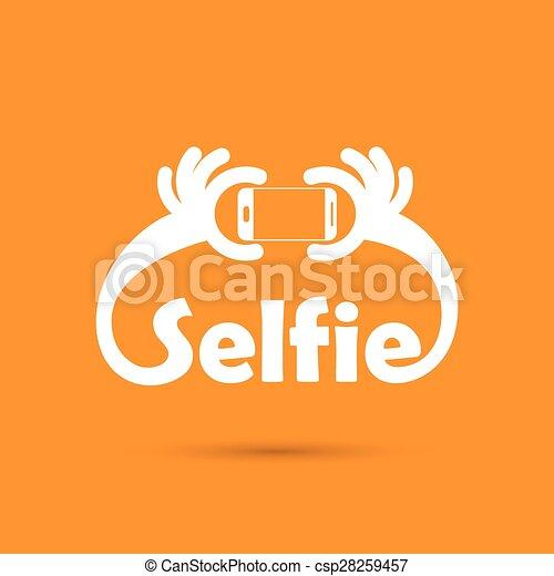 Taking selfie portrait photo on smart phone concept icon. Selfie concept design element. - csp28259457