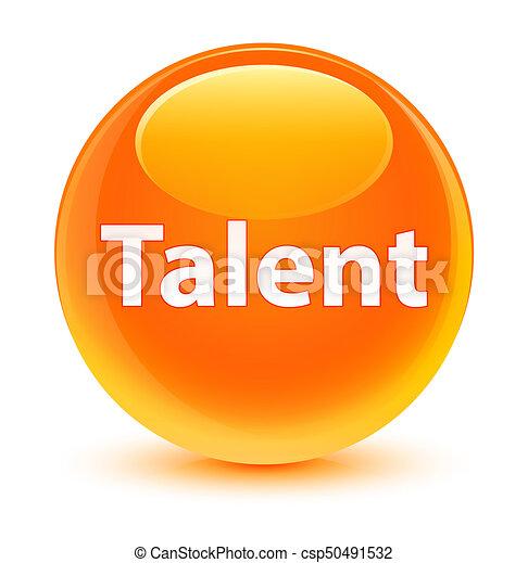 Talent glassy orange round button - csp50491532