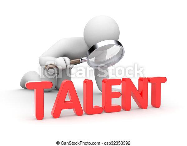 3D hombre examinar palabra talento - csp32353392