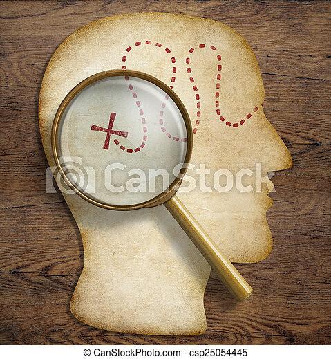 Cerebro, mundo interior, psicología, exploración de talentos y el concepto de descubrimiento. - csp25054445