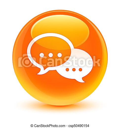 Talk bubble icon glassy orange round button - csp50490154