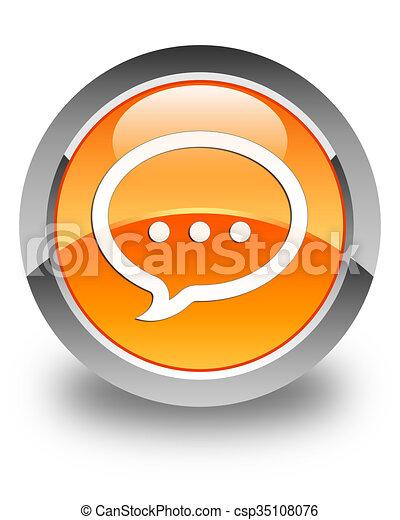 Talk icon glossy orange round button 2 - csp35108076