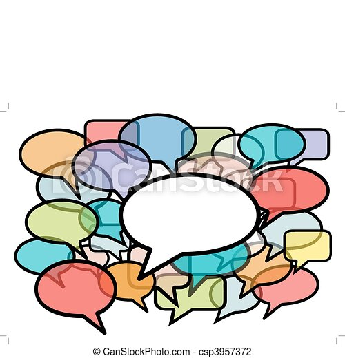 Talk in colors speech bubbles social media - csp3957372