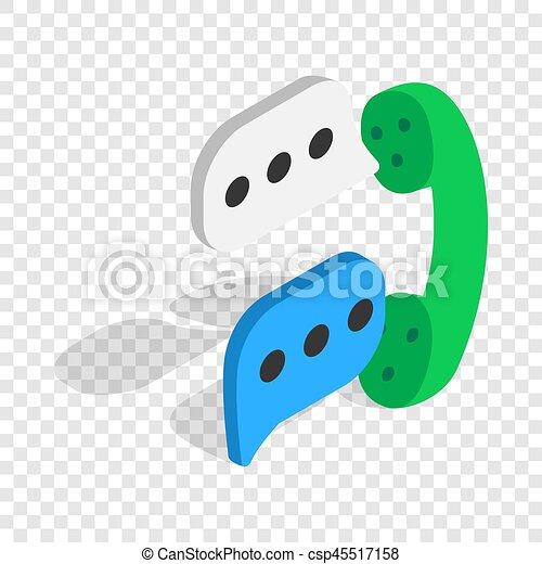 Talking on phone isometric icon - csp45517158