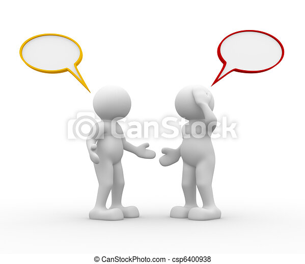talking two people talking this is a 3d render illustration rh canstockphoto com Cartoon People Talking Talking Mouth Clip Art