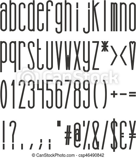 Tall And Skinny Bold Small Alphabet Numbers And Symbols This Image