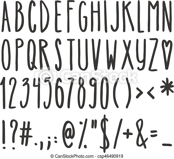 Tall and skinny handwriting alphabet, numbers and symbols ...