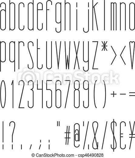 Tall And Skinny Regular Small Alphabet Numbers And Symbols This