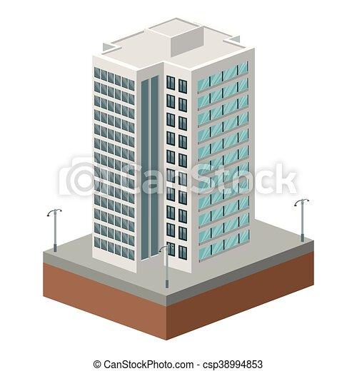 Flat Design Tall Building Icon Vector Illustration