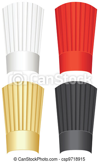 Tall chef's hat in white, red, gold and black isolated on