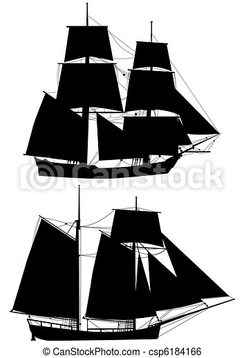 tall ships of XVIII  century outlines - csp6184166