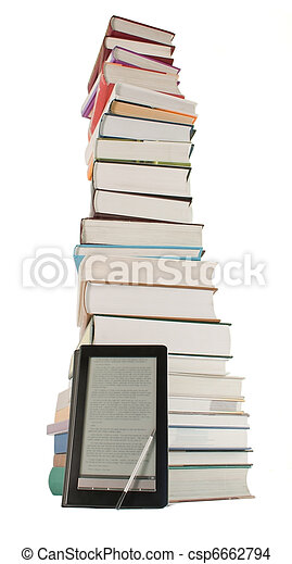 Tall stack of books and e-book reader on the white background - csp6662794