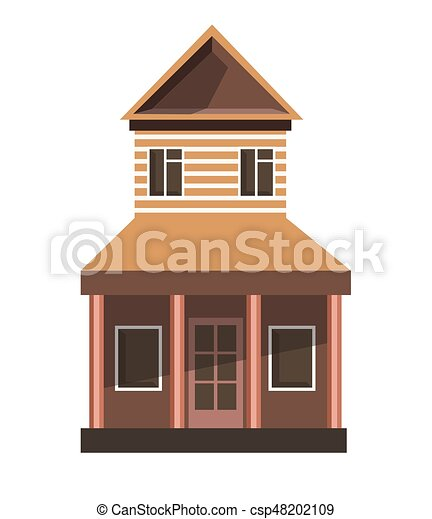 Tall Vintage House Illustration Of Thin And Brown
