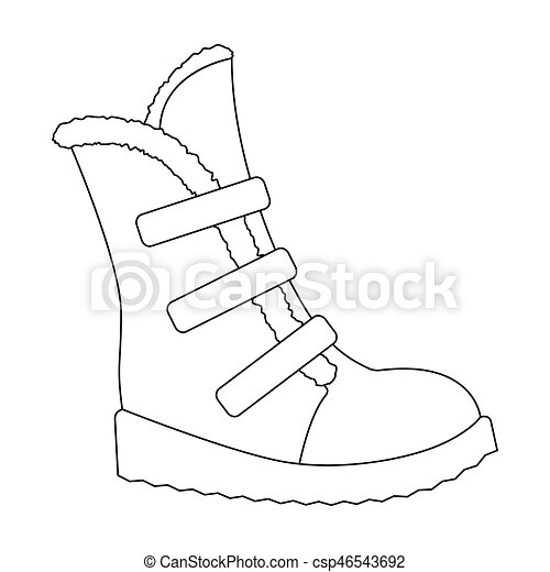 Tall winter boots made of wool with Velcro. Shoes for explorers.Different  shoes single icon in outline style vector symbol stock illustration.