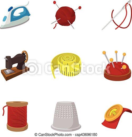 taller, conjunto, accesorios, costura, iconos - csp43696180
