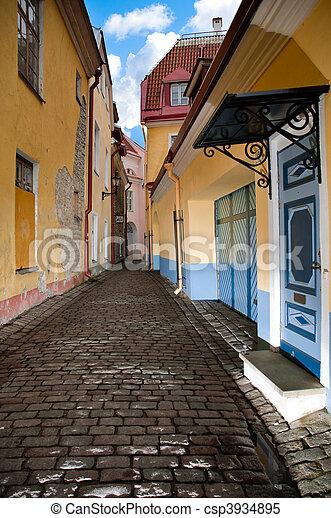 tallin, rua, antigas - csp3934895