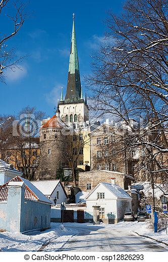 tallinn, antigas, estónia, town. - csp12826293