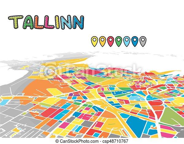 Tallinn Estonia Downtown 3d Vector Map Of Famous Streets Bright