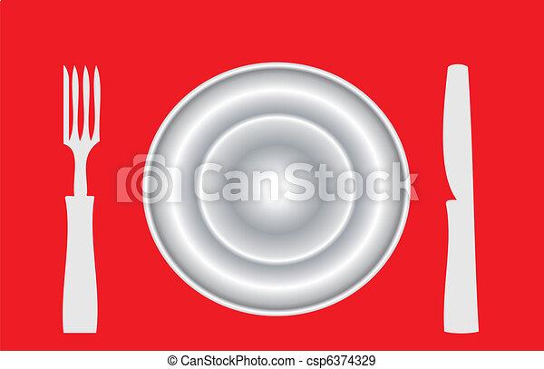tallrik, middag - csp6374329