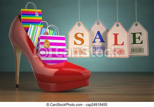 talon, achats, femmes, sacs, élevé, chaussures, étiquettes, concept, sale. - csp24918455