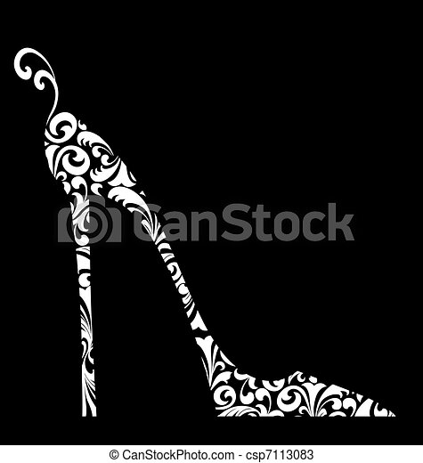 Chic damask alto zapato blanco en negro - csp7113083