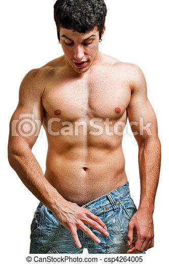 El concepto de la potencia y el tamaño del pene: el hombre mirando en sus pantalones - csp4264005