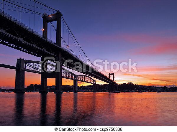 Tamar Bridge Silhouette - csp9750336