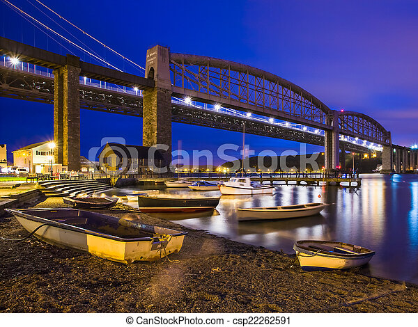 Tamar Bridges at Night Saltash Cornwall - csp22262591