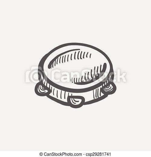 Tambourine sketch icon - csp29281741