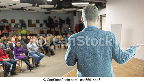 tanácskozás, hall., ügy, kihallgatás, presentation., beszélő - csp66914445