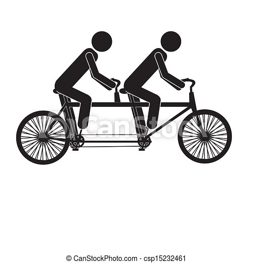 Tandem Bicycle Over White Background Vector Illustration Clip Art