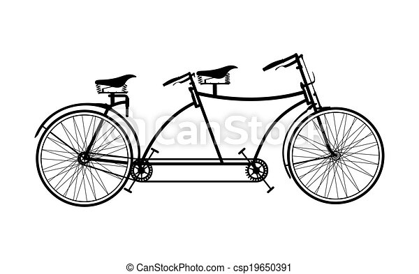 Tandem Bicycle Eps Vectors
