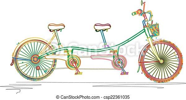 Tandem bicycle in colors - csp22361035