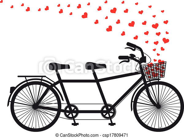 tandem bicycle with red hearts - csp17809471